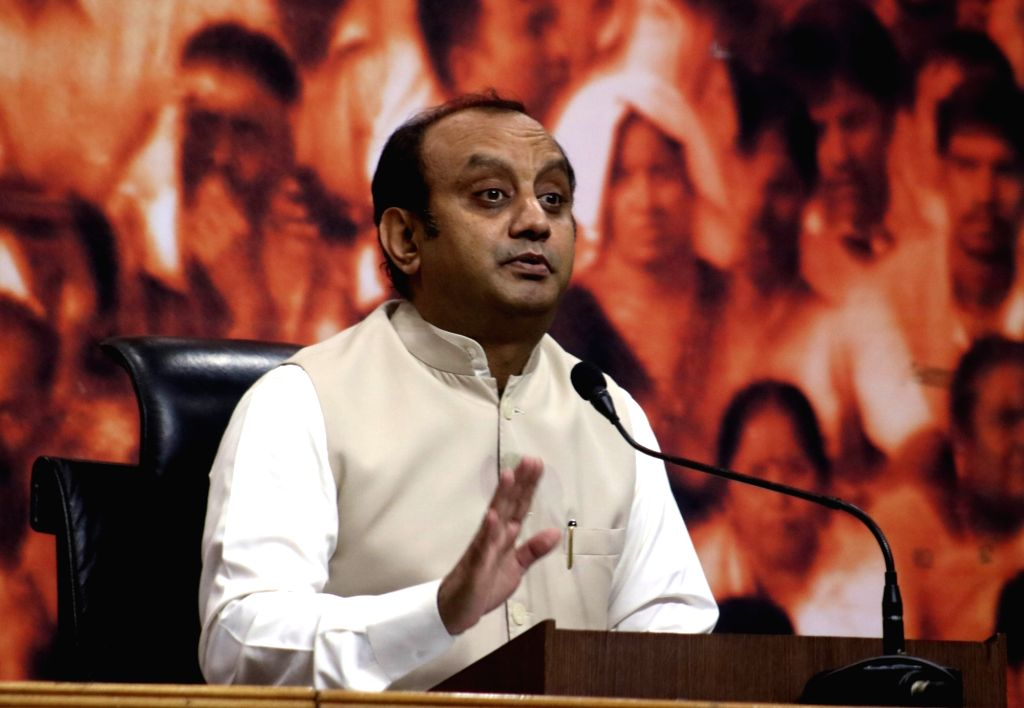 BJP spokesperson Sudhanshu Trivedi addresses a press conference in New Delhi, on April 22, 2016.