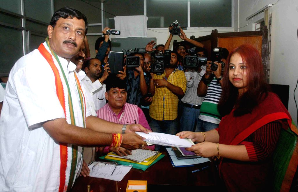 BJP state president and North Kolkata Parliamentary constituency candidate Rahul Sinha filing his nomination for Lok Sabha election in Kolkata on April 17, 2014.