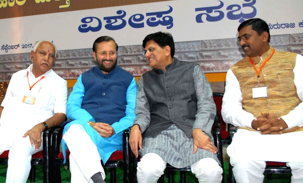 BJP State president B S Yeddiyurappa, Union Human Resource Development Minister and BJP's Karnataka poll in-charge Prakash Javadekar and Union Railways and Coal Minister Piyush Goyal ... - Piyush Goyal