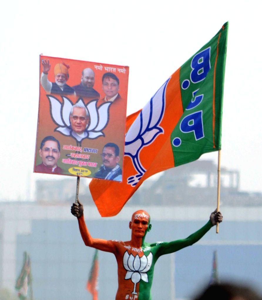 BJP supporter at Prime Minister Narendra Modi's 'Sankalp Rally' in Patna, on March 3, 2019. - Narendra Modi