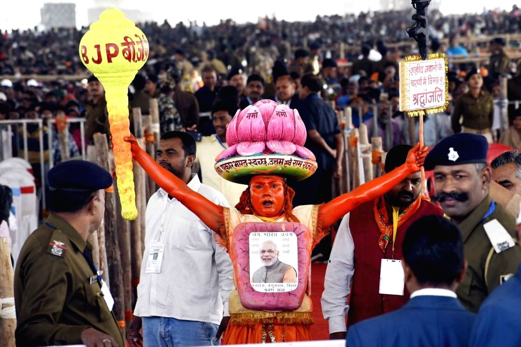 BJP supporter during Prime Minister Narendra Modi's visit at the inauguration of various development projects in Bihar's Barauni, on Feb 17, 2019. - Narendra Modi