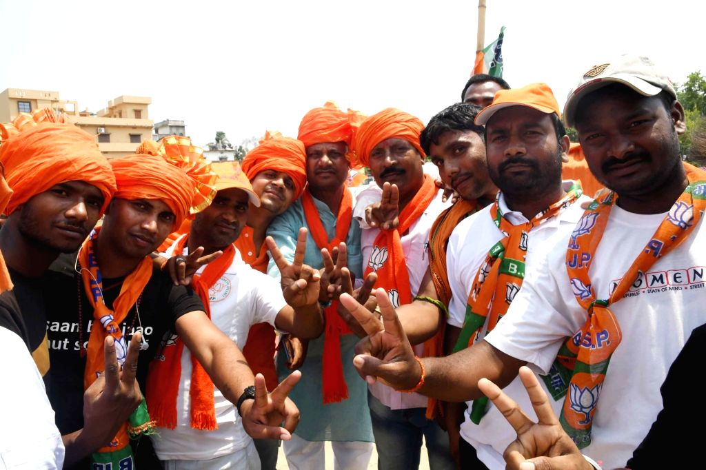 BJP supporters at party chief Amit Shah's public rally in Bihar's Begusarai, on April 24, 2019. - Amit Shah