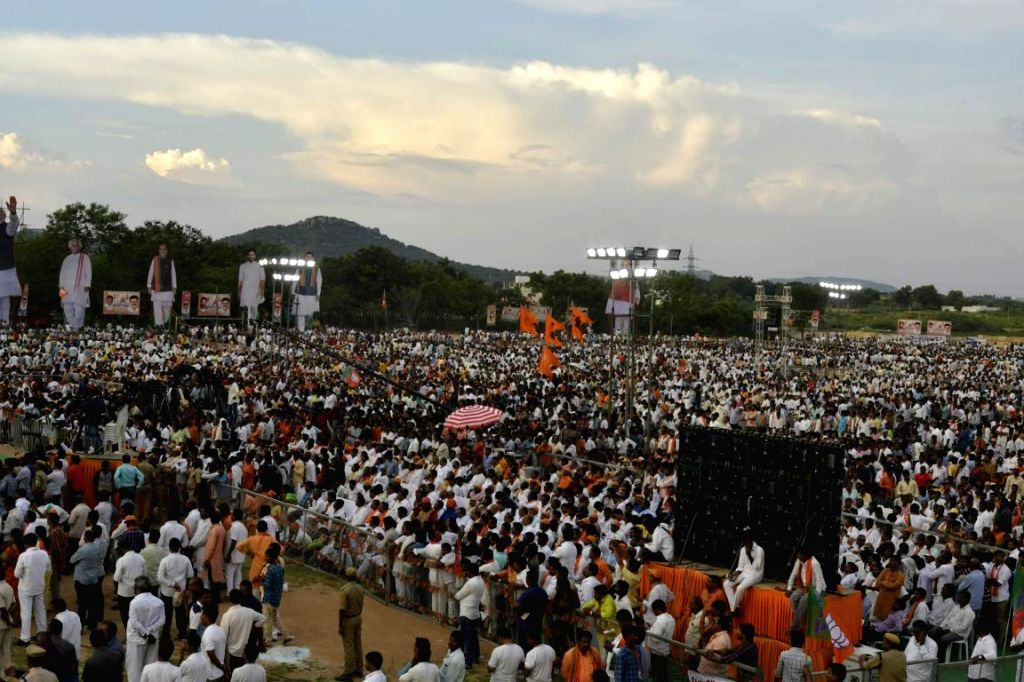 BJP supporters during a public meeting at Telangana's Mahabubnagar district on Sept 15, 2018.
