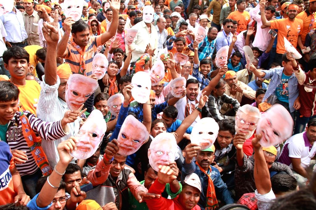 BJP supporters during an election rally in Tripura's Sonamura on Feb 8, 2018.