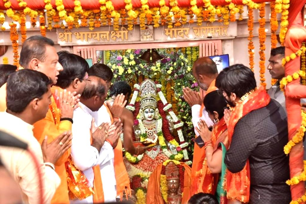BJP Telangana chief offers prayers on completion of first leg of padyatra.