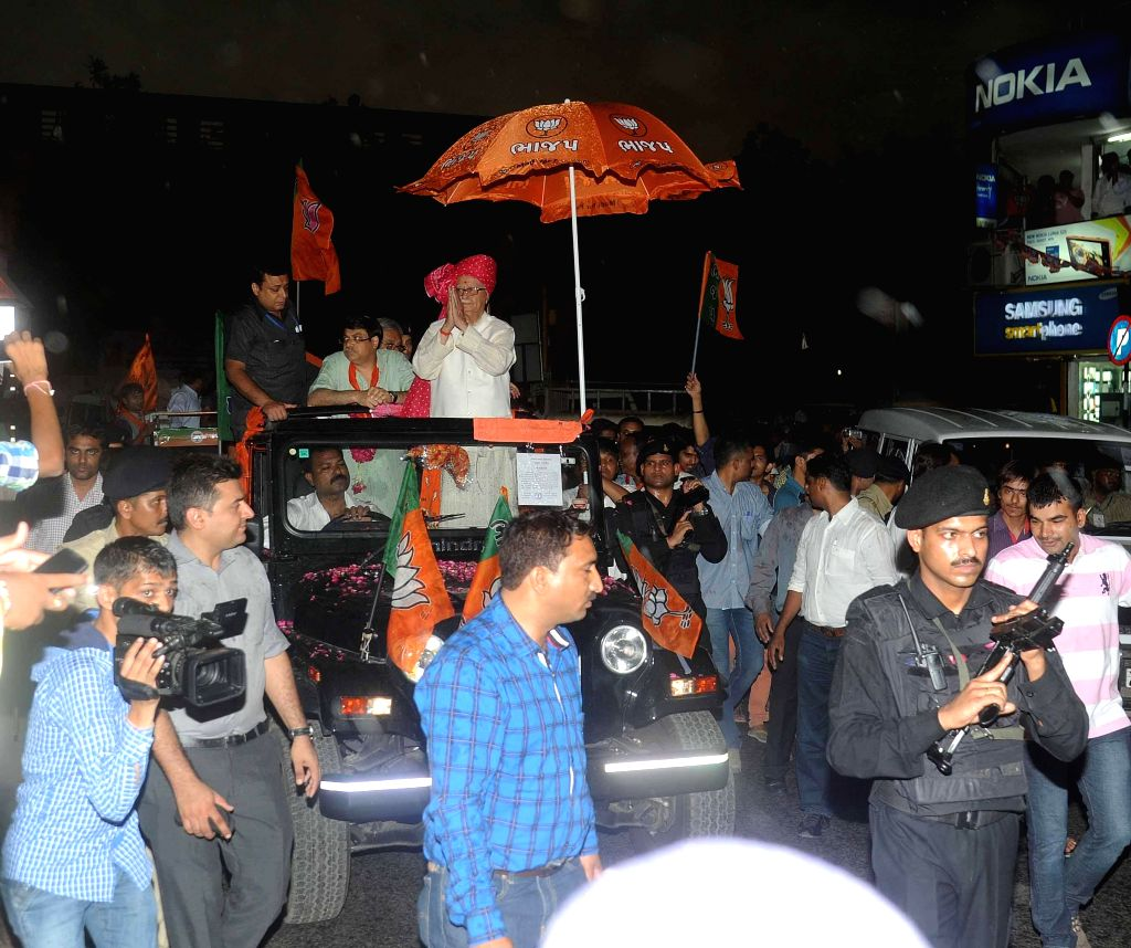 BJP veteran and party's candidate from Gandhinagar Lok Sabha seat, L K Advani during a roadshow in Ahmedabad on April 20, 2014.