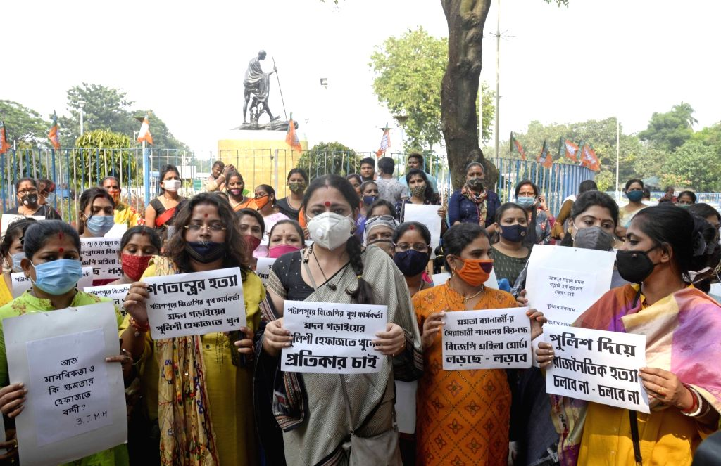 BJP women activists led by party Mahila Morcha President Agnimitra Paul stage a demonstration demanding justice for a BJP worker identified as Madan Ghorai from Purba Medinipur district who ...