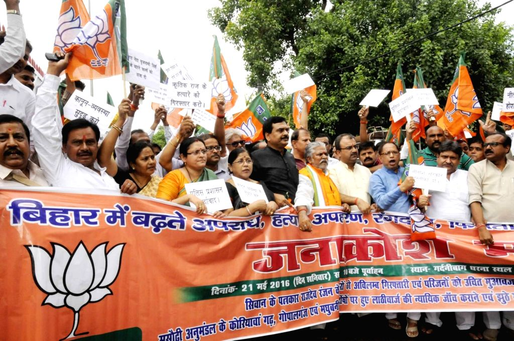BJP worker stage a demonstration against the rising crime in Bihar; in Patna, on May 21, 2016.