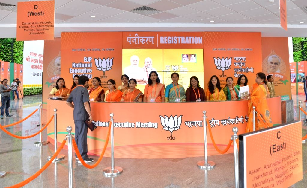 BJP workers at the party's National Executive meeting, in New Delhi on Sept 8, 2018.