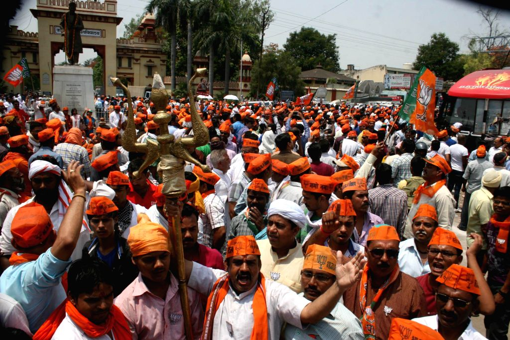 BJP workers demonstrate against Election Commission at Banaras Hindu University (BHU) in Varanasi on  May 8, 2014.