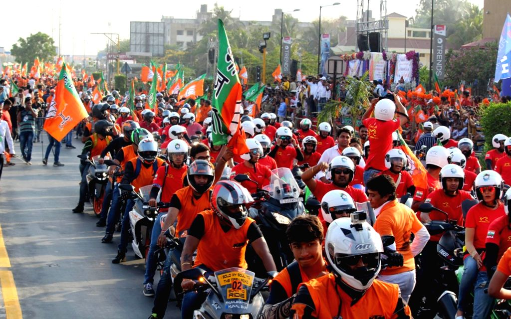 BJP workers during a bike rally in Surat on April 16, 2017.