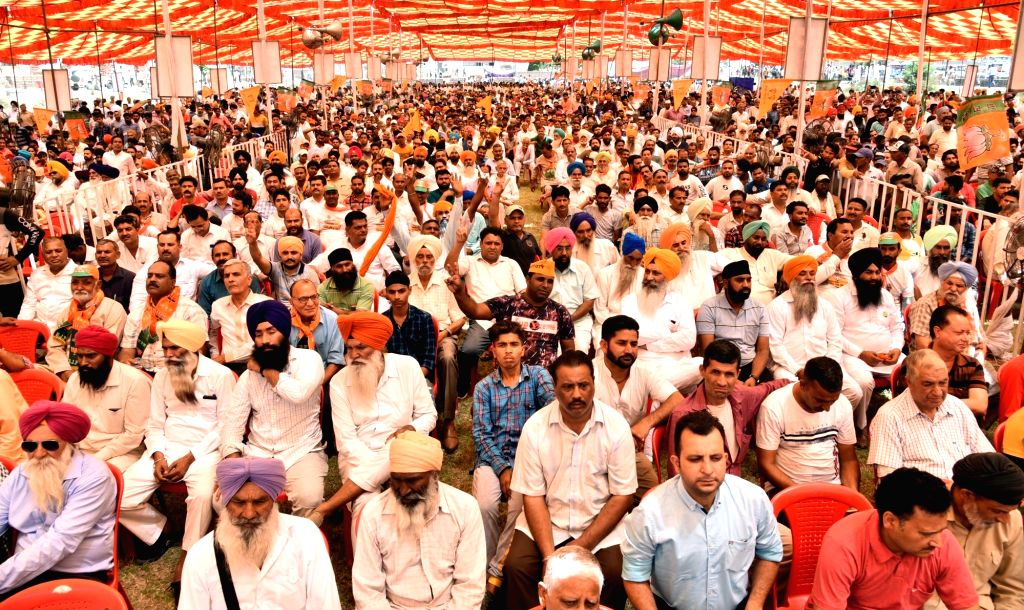 BJP workers during a party rally in Gurdaspur, Punjab on April 29, 2019.