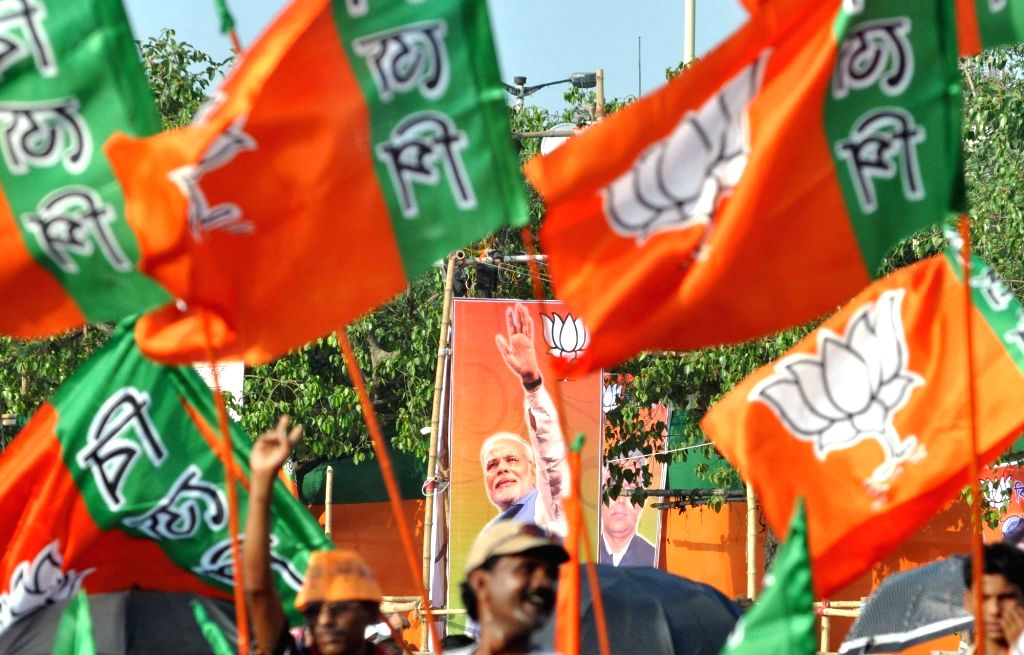 BJP workers during a party rally in Kolkata, on April 17, 2016.
