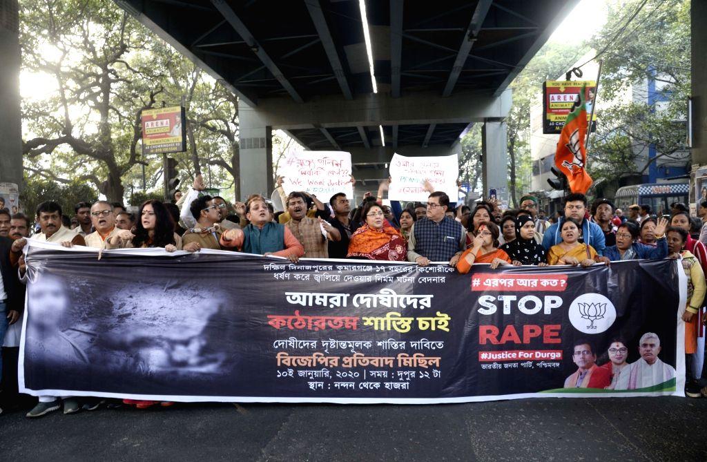 BJP workers led by party leader Locket Chatterjee, stage a demonstration against Kumarganj rape case, in Kolkata on Jan 10, 2020. - Chatterjee