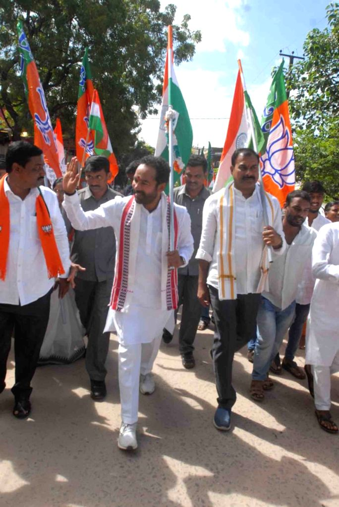 BJP workers led by Union MoS Home Affairs G. Kishen Reddy, participate in the 'Gandhi Sankalp Yatra', taken out as part of the 150th Birth anniversary celebrations of Mahatma Gandhi, in ...