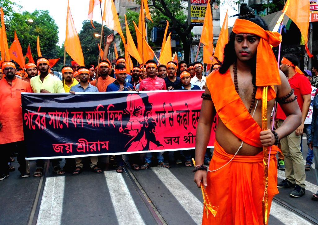 BJP workers participate in a rally on Ram Navami in Kolkata, on March 25, 2018.