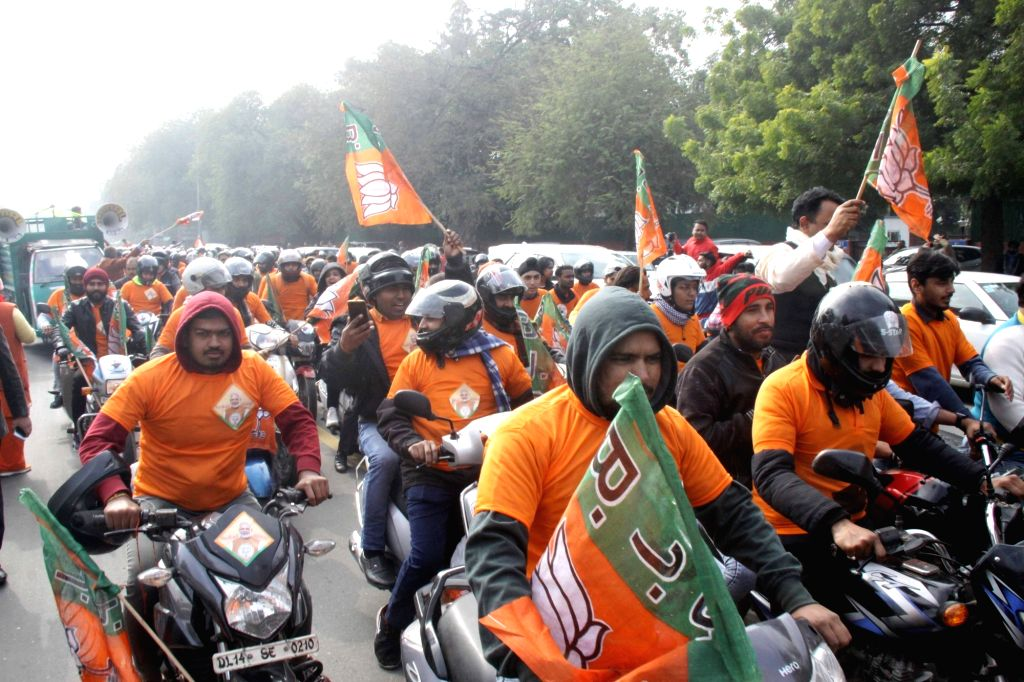 BJP workers participate in the party's bike rally organised ahead of the upcoming Delhi Assembly elections, in New Delhi on Jan 9, 2020.