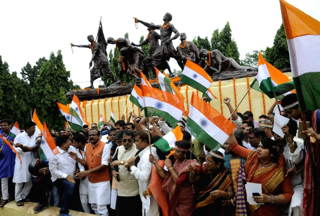 BJP workers participate in Tiranga Yatra ahead of 71st Independence Day celebrations in Patna on Aug 12, 2017.