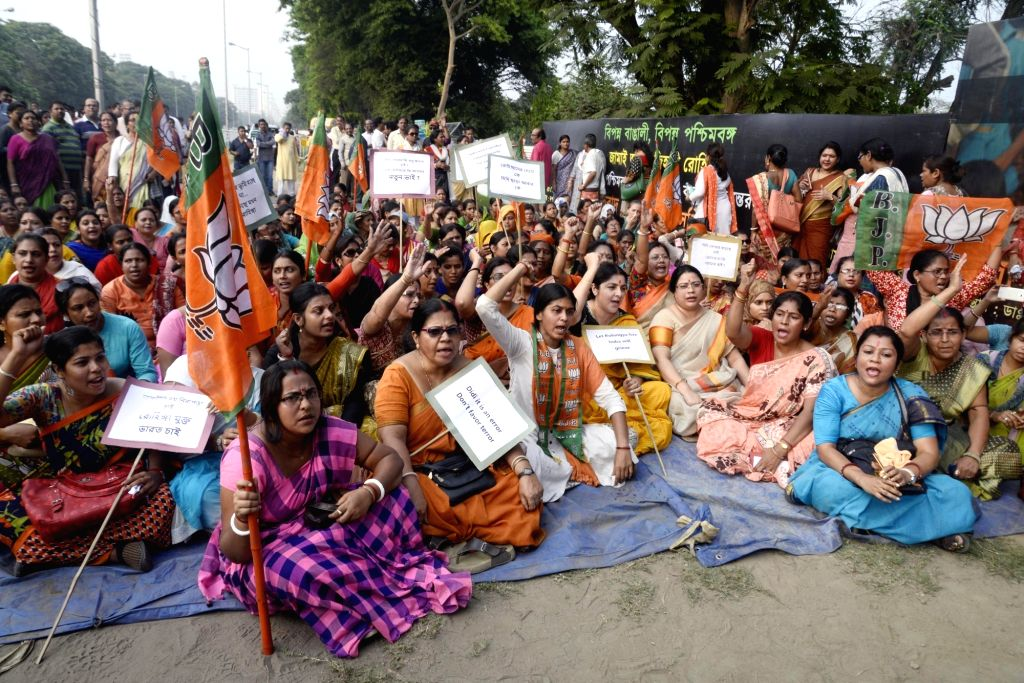 BJP workers stage a demonstration against infiltration of Rohingya Muslims in West Bengal in Kolkata, on March 23, 2018.