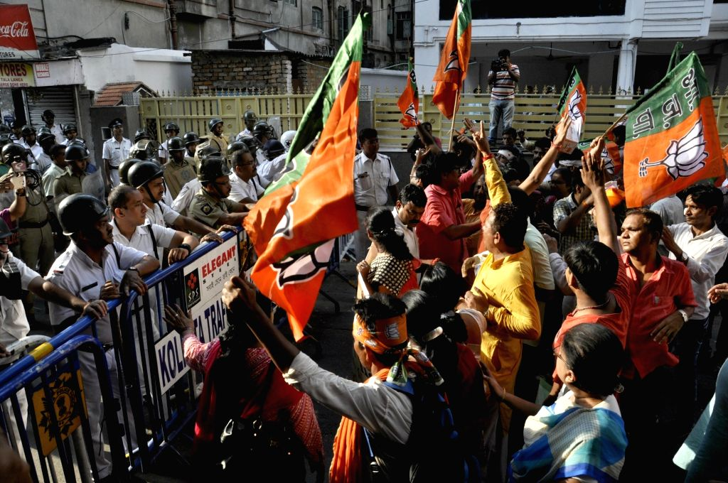 BJP workers stage a demonstration against Kolkata Police on May 25, 2017.