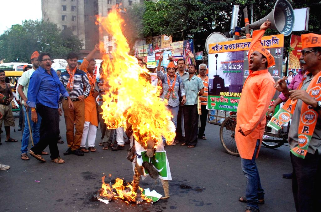 BJP workers stage a demonstration against Sept 18 attack on Uri army camp; in Kolkata, on Sept 20, 2016.