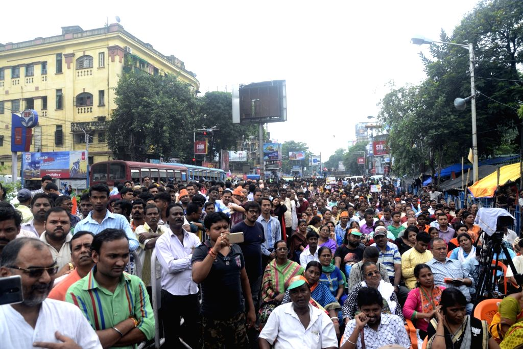 BJP workers stage a demonstration in Kolkata on Aug 12, 2017.