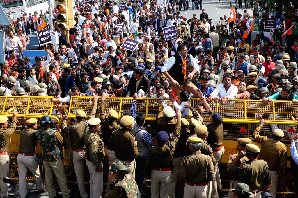 BJP workers stage a demonstration near Civil Lines railway crossing in Jaipur, on Feb 8, 2019.
