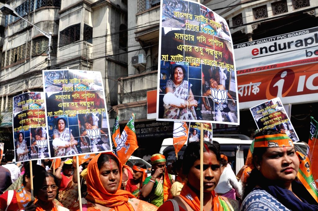 BJP workers stage a demonstration on International Women's Day 2019 in Kolkata, on March 8, 2019.