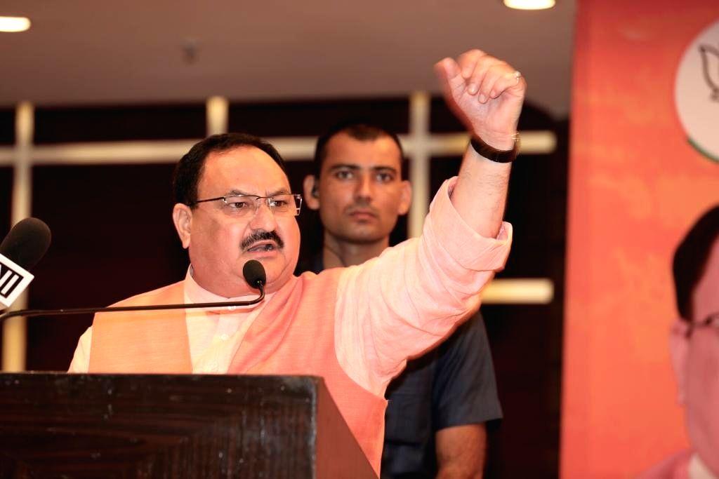 BJP Working President J.P. Nadda addresses a public meeting in Panchkula, on Oct 13, 2019.