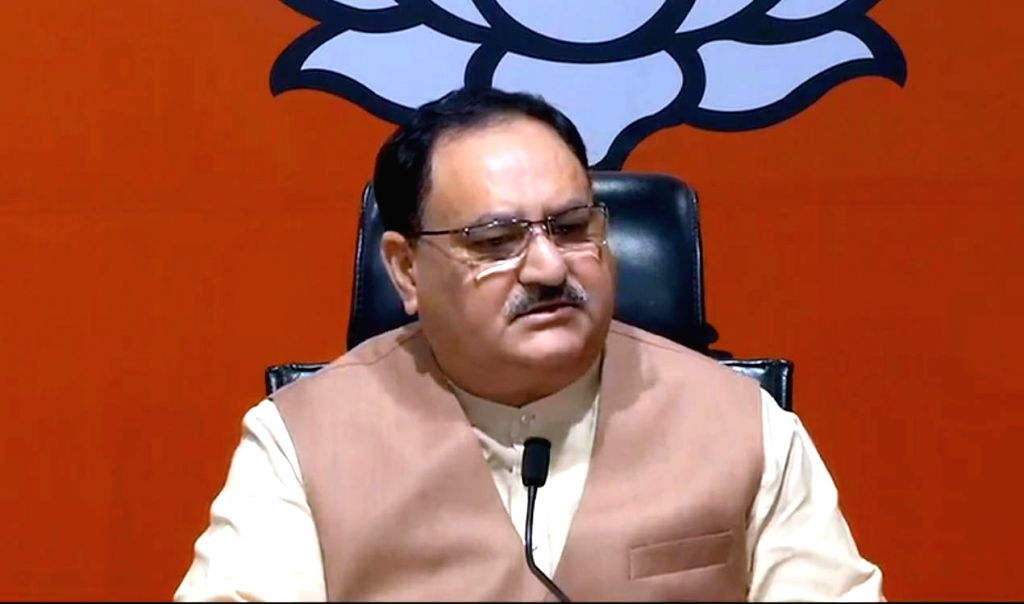 BJP working president J.P. Nadda addresses a press conference on Jharkhand Assembly Election 2019 at BJP headquarters in New Delhi on Nov 10, 2019.