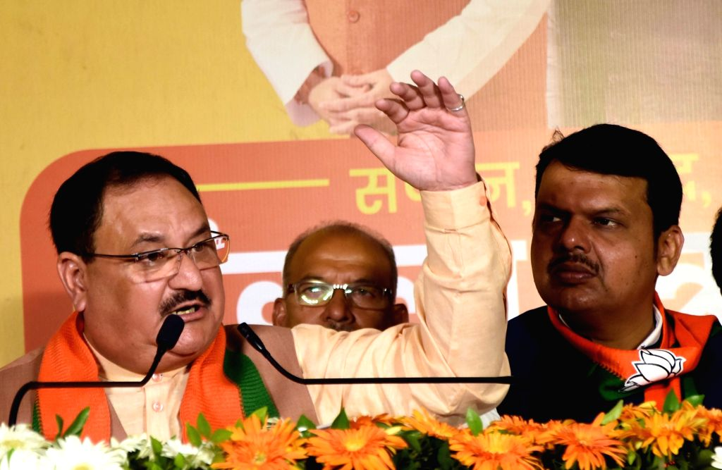 BJP Working President JP Nadda addresses at the launch of party's manifesto for upcoming Maharashtra Assembly polls in Mumbai on Oct 15, 2019.