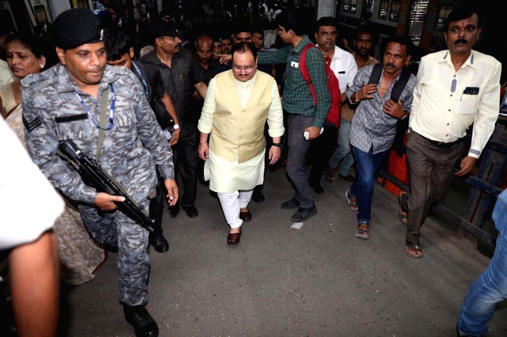 BJP Working President JP Nadda at railway station in Mumbai on Oct 17, 2019.
