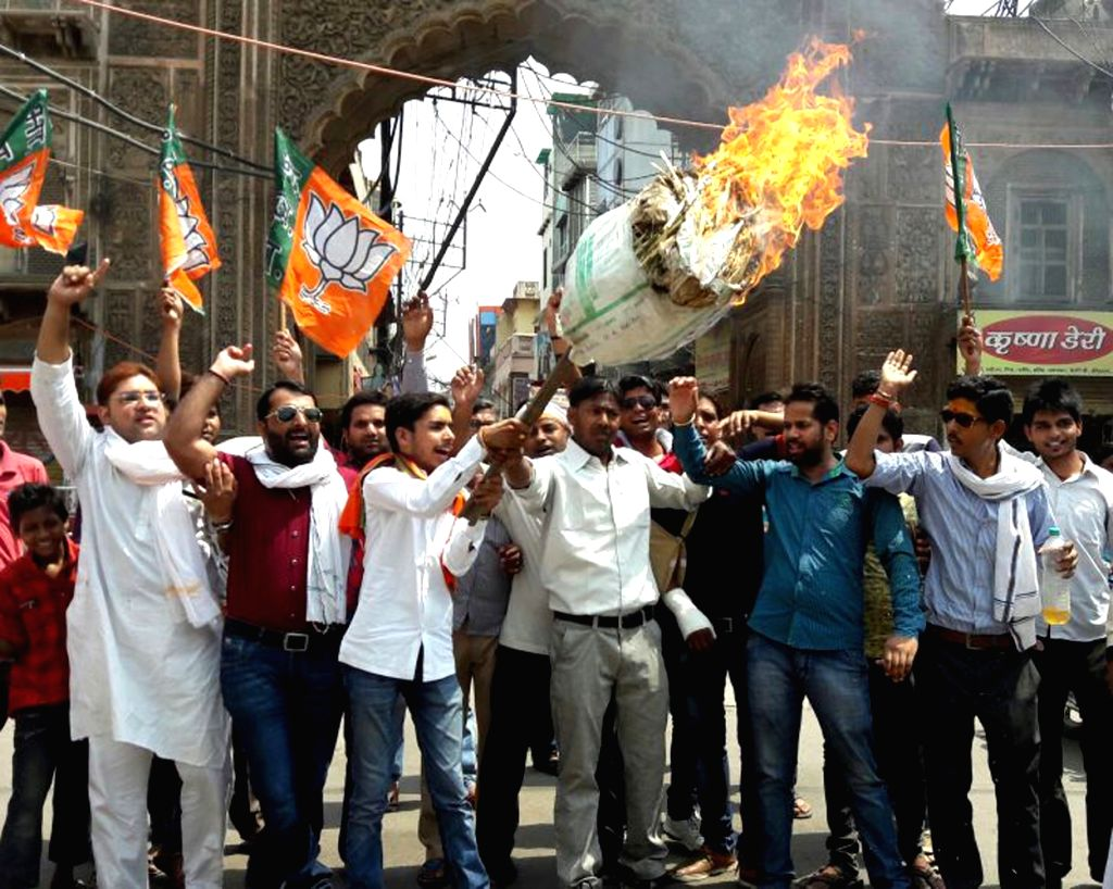 BJYM activists stage a demonstration against Jawaharbagh violence in Mathura on June 5, 2016.