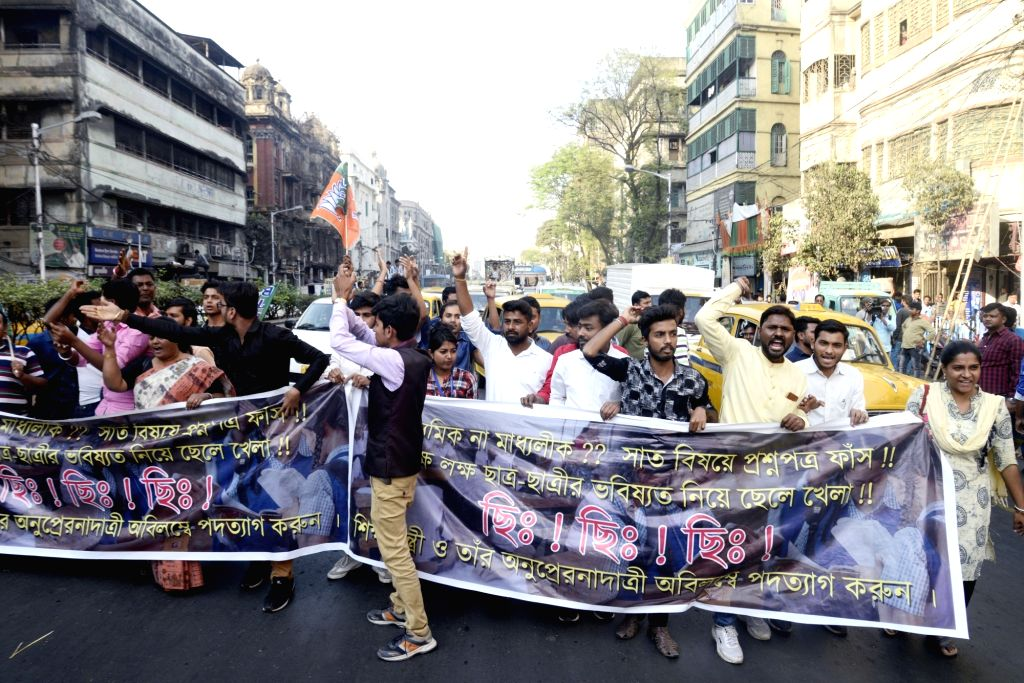 BJYM activists stage a demonstration in Kolkata on Feb 21, 2019..