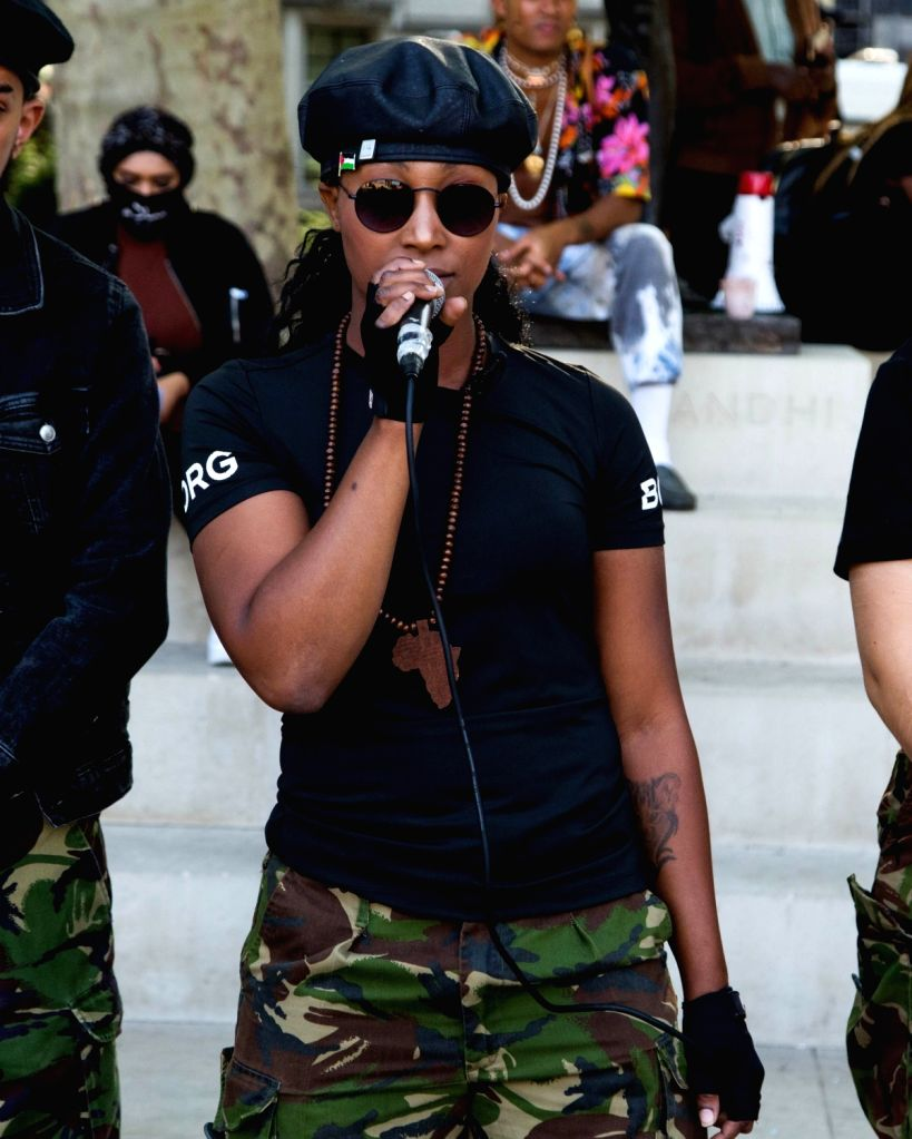 Black Lives Matter activist Sasha Johnson speaks during a Black Lives Matter protest in Parliament Square. Sasha is in critical condition in hospital after being shot in the head in the early hours of Sunday, according to her Taking The Initiative Pa