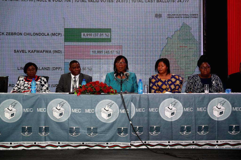 BLANTYRE (MALAWI), May 27, 2019 Justice Jane Ansah (C), chairperson of the electoral body, announces the results of the presidential election in Blantyre, Malawi, on May 27, 2019. ...