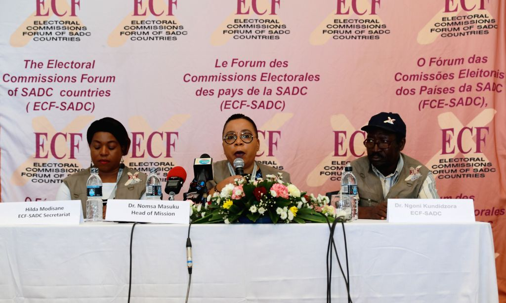 BLANTYRE, May 24, 2019 - The Electoral Commissions of Forum of the Southern African Development Community Election Observer Mission holds a press briefing in Blantyre, Malawi, May 23, 2019. ...