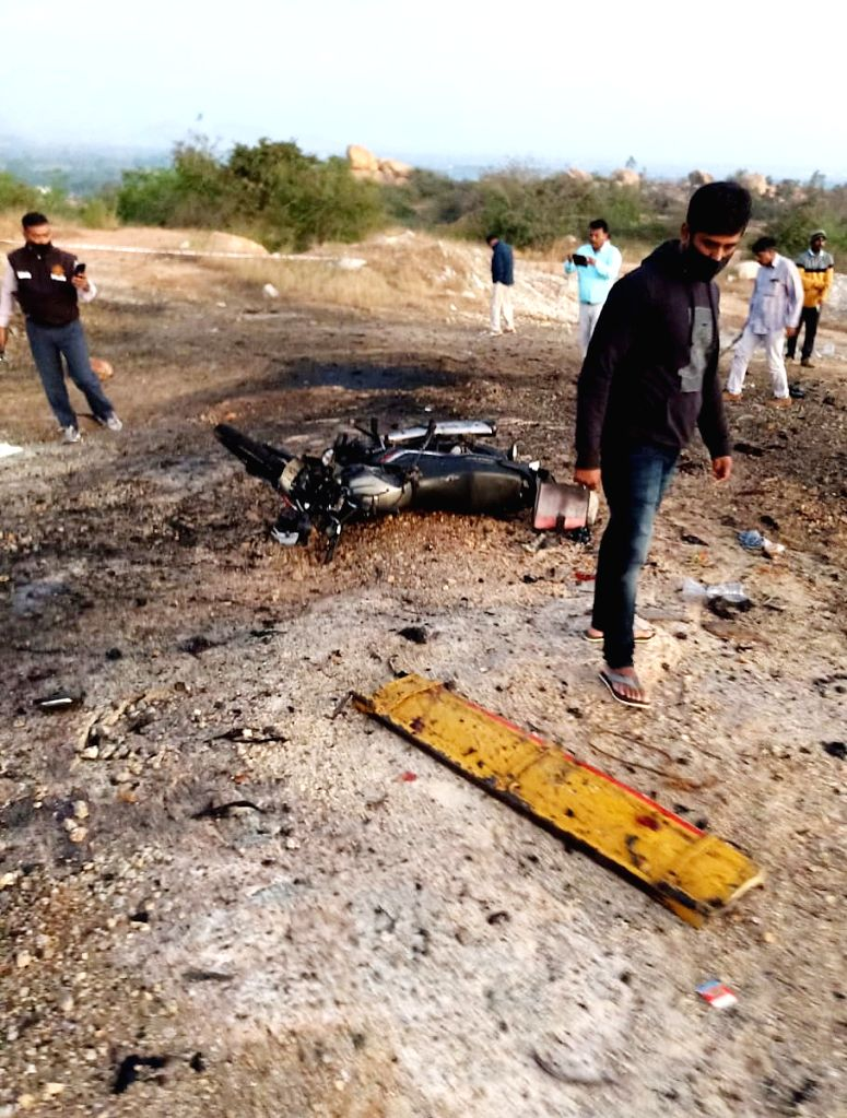 Blast occurred when gelatin sticks used for blasting were being transported in a vehicle, in Chikkaballapura on Tuesday 23rd February 2021.