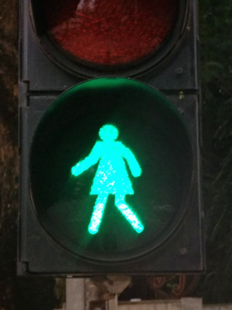 Blinking??? females at road signals prove show-stopper in Mumbai.pedestrian signals at Shivaji Park grace a new 'gender-equal' look with female figures in standing and walking modes blinking.