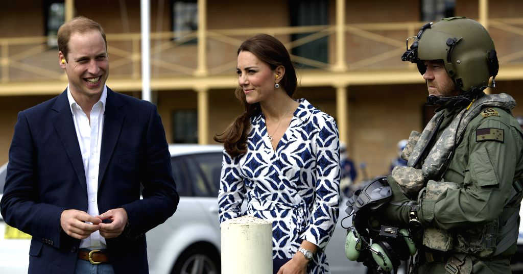 British Prince William and his wife Kate, Duchess of Cambridge, meet with Australian helicopter crew members participating in rescue missions at the Blue ...