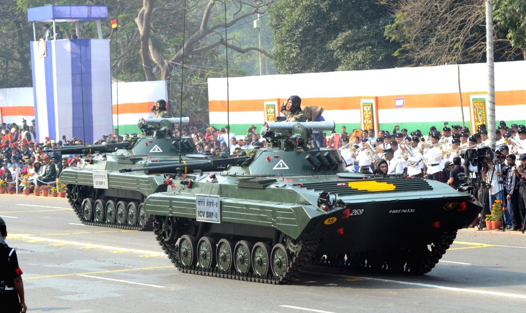 BMP-2 - a second-generation, amphibious infantry fighting vehicle - rolls down the Red Road during the 71st Republic Day parade in Kolkata on Jan 26, 2020.