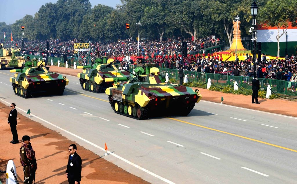 BMP 2 'Sarath' infantry combat vehicles roll down the Rajpath during the 71st Republic Day parade, in New Delhi on Jan 26, 2020.