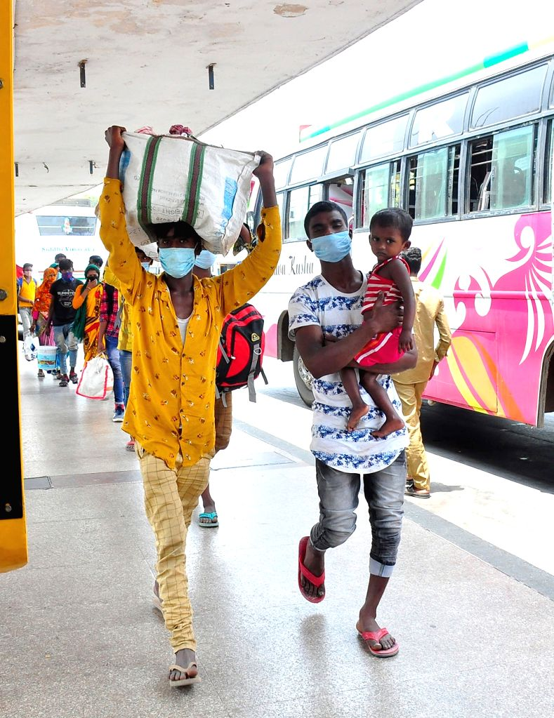 BMTC busses being parked at Yeshwanthpur bus terminal during the BMTC and KSRTC bus workers indefinite strike from today and to protest against the government's failure to implement a ...