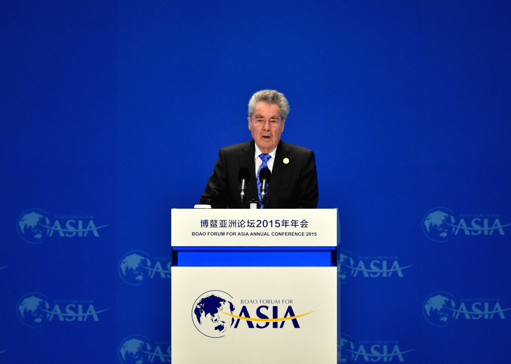 Austrian President Heinz Fischer speaks during the opening ceremony of the 2015 annual conference of the Boao Forum for Asia (BFA) in Boao, south China's Hainan ...