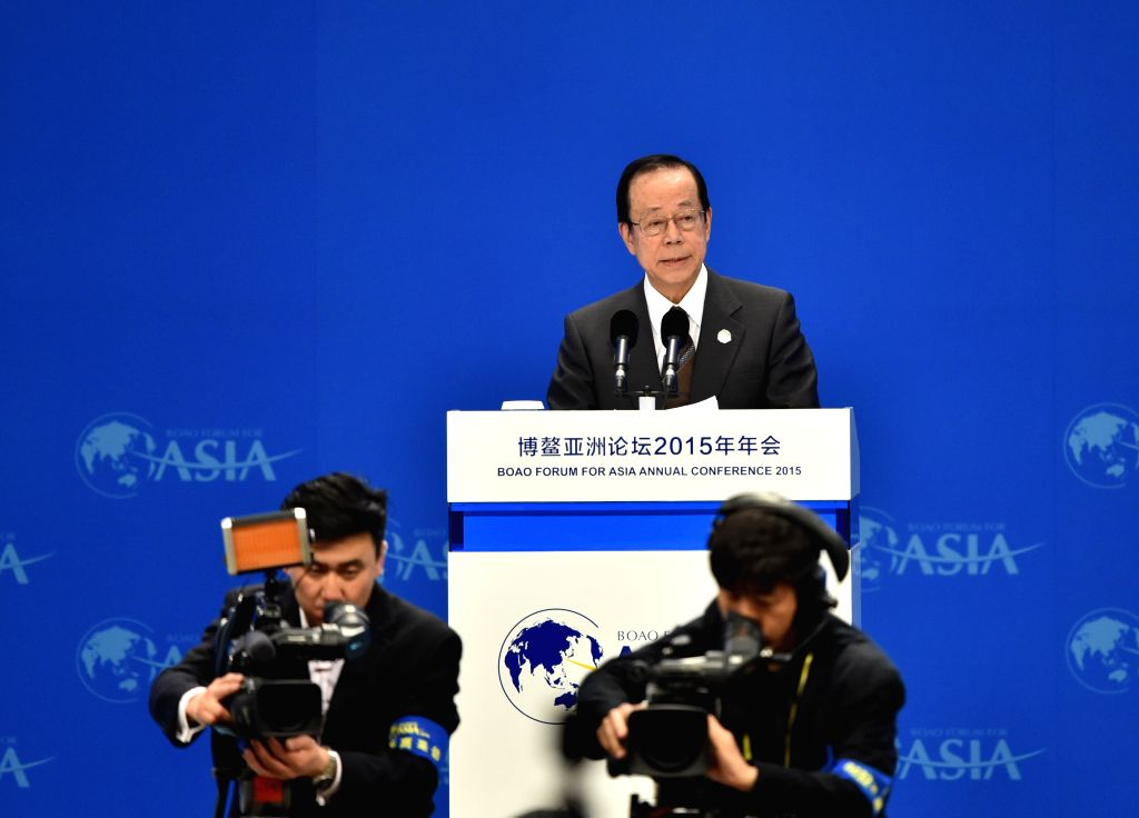 Yasuo Fukuda, chairman of the Board of Directors of the Boao Forum for Asia (BFA), addresses the opening ceremony of the 2015 annual conference of the BFA in Boao, ...