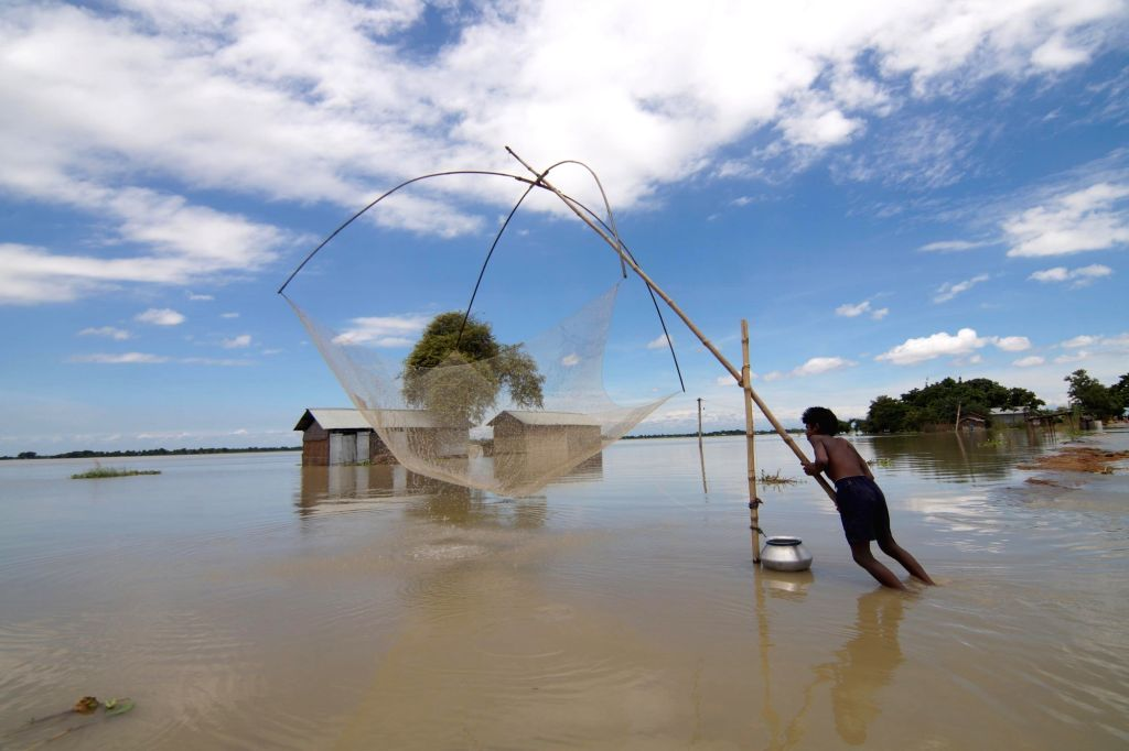 Boat plies along a submerged road in flood-hit Ashighar village of Assam on July 6, 2016.