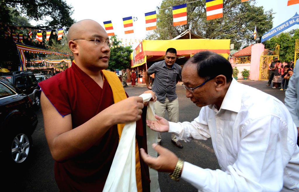 Bodh Gaya: 17th Karmapa Lama, Ogyen Trinley Dorje at Mahabodhi temple in Bodh Gaya on Nov 5, 2014. Dorje will be staying in Bodh Gaya for three months to conduct Kagyu Monlam prayers.