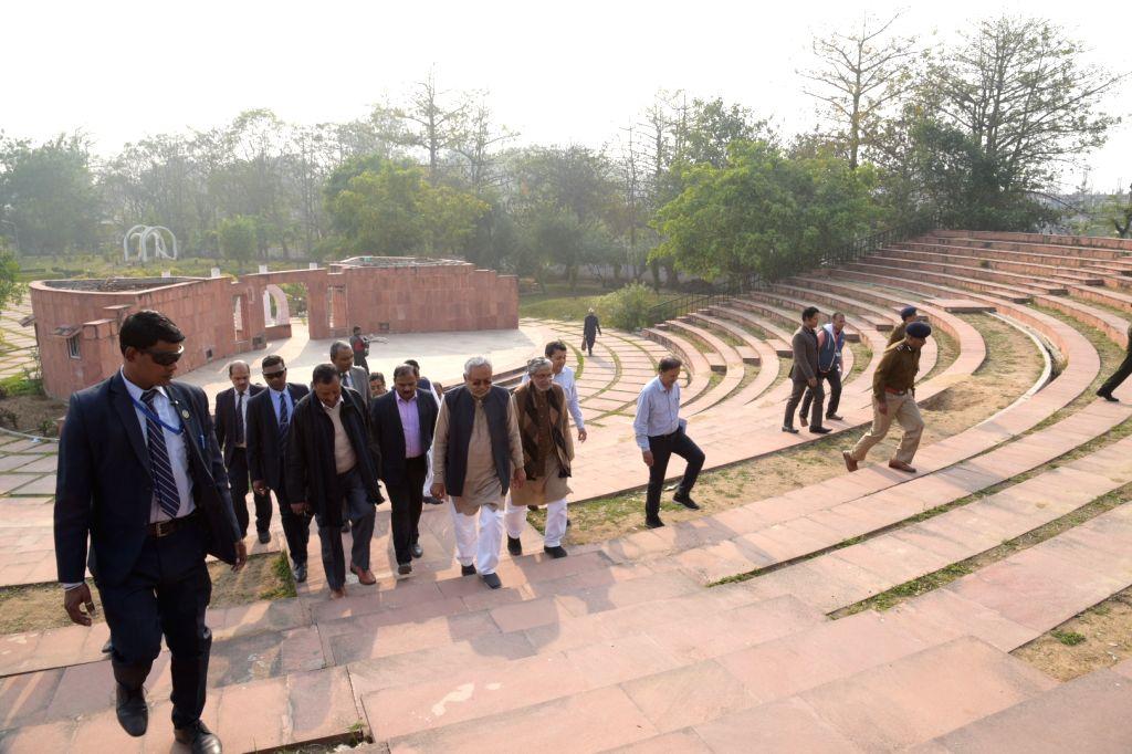 Bodh Gaya: Bihar Chief Minister Nitish Kumar during his visit to the Mahabodhi Temple in Bodh Gaya on Jan 29, 2020. - Nitish Kumar