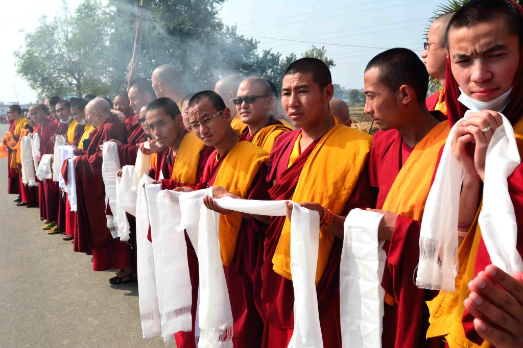 Bodh Gaya: Buddhist monks at Bodh Gaya, on Dec 18, 2014.