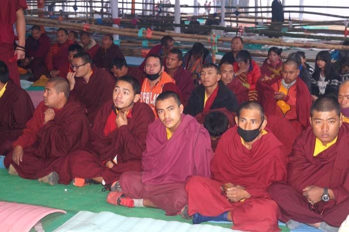 Bodh Gaya: Buddhist monks participate in Kalachakra in Bodh Gaya on Jan 13, 2017.